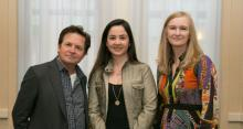 Winner Dr. Duygu Tosun-Turgut (center) met with Michael J. Fox and MJFF Co-founder and Executive Vice Chairman Debi Brooks in New York City earlier this month.